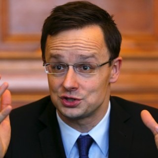 Hungarian Foreign Minister Peter Szijjarto speaks during an interview with Reuters in Budapest, Hungary