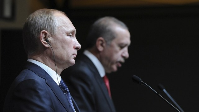 Russia's President Putin is pictured during a joint news conference with his Turkish counterpart Erdogan in Ankara